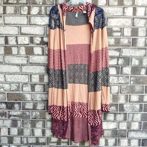 BKE multi-color hooded duster cardigan size XL